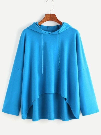 Blue Hooded Drop Shoulder Dip Hem Sweatshirt