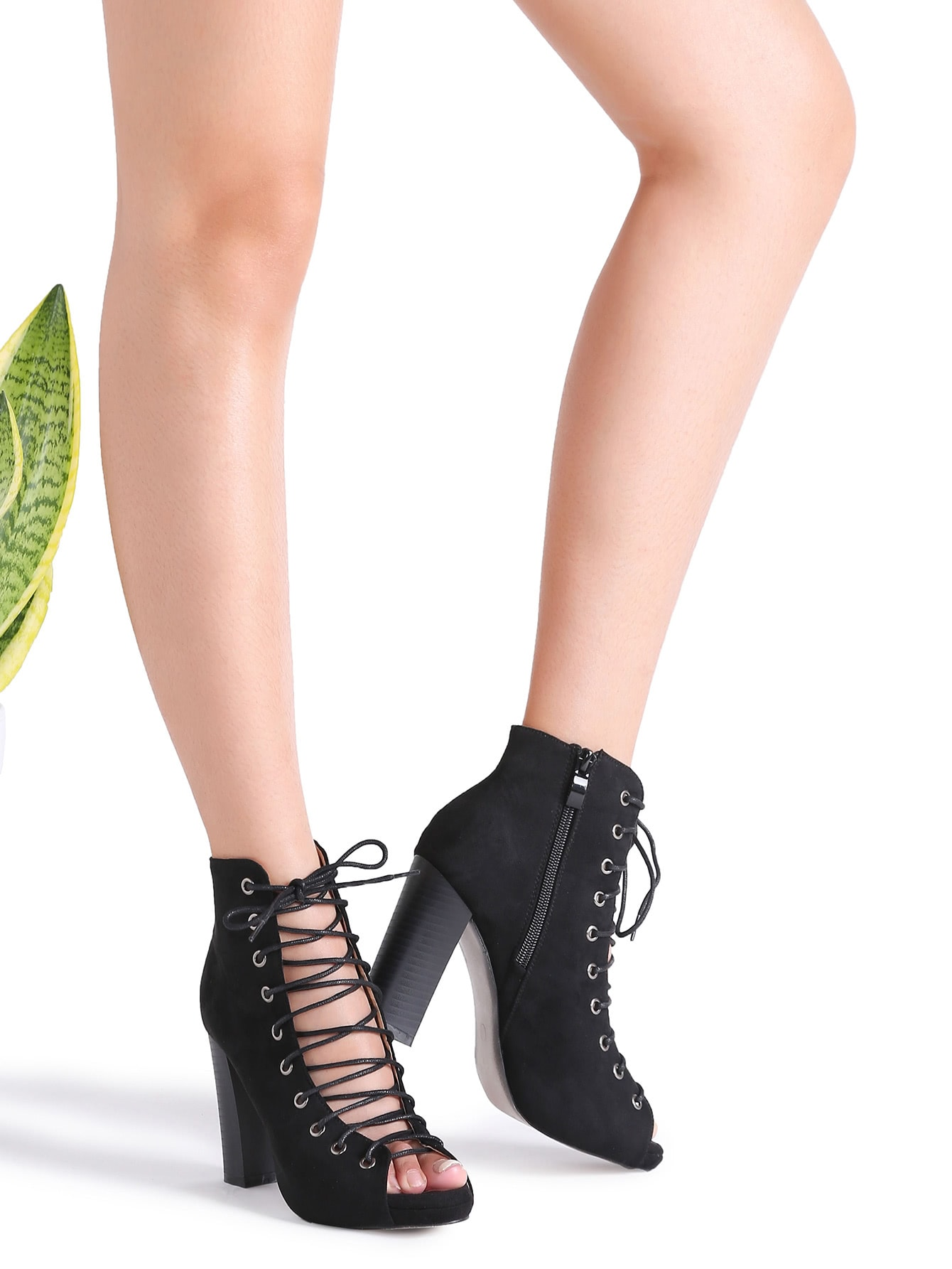 Black Cutout Crisscross Side Zipper Sandals