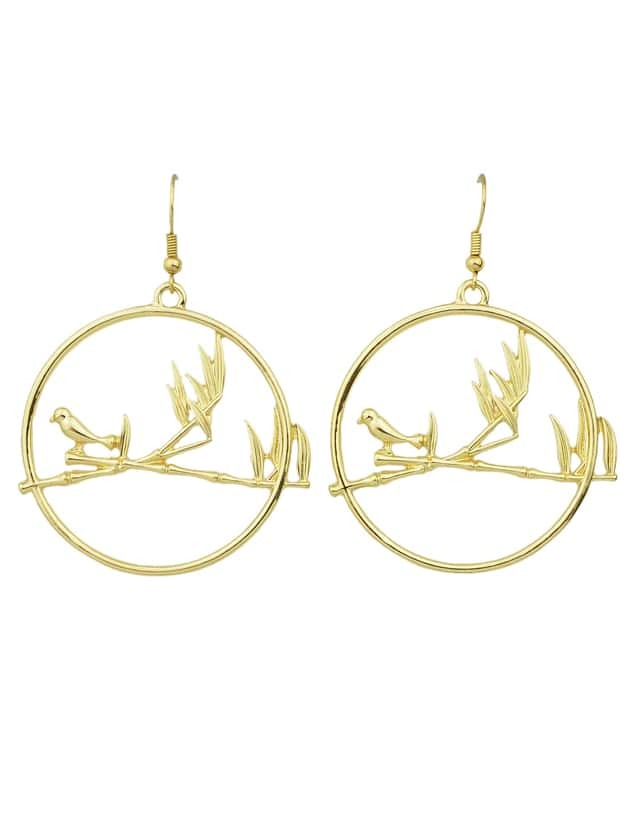 Gold  Color Big Round Bird Drop Earrings