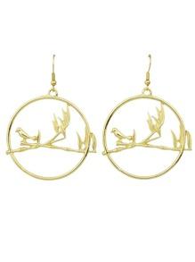 Gold  Color Big Round Bird Drop Earrings