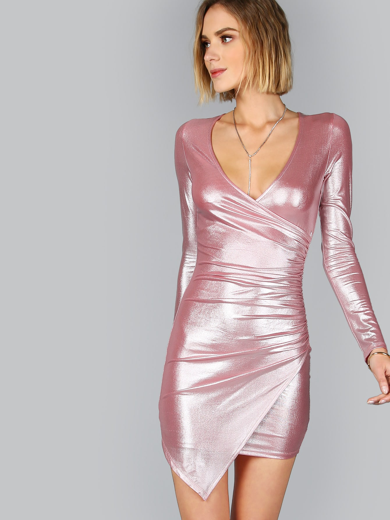 Metallic Pink Ruched Surplice Wrap Asymmetric Dress -SheIn(Sheinside)