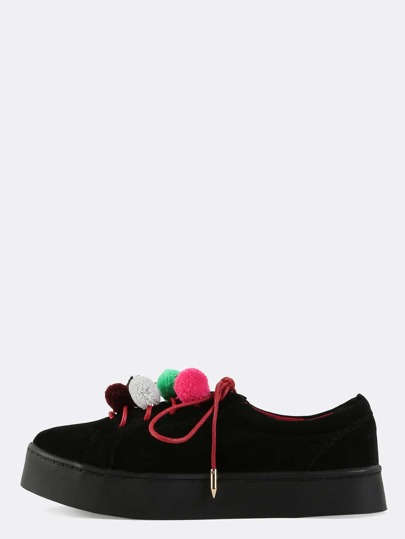 Neon Pom Pom Suede Sneakers BLACK