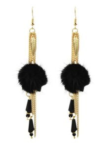 Black Color Chain Long Hanging Earrings