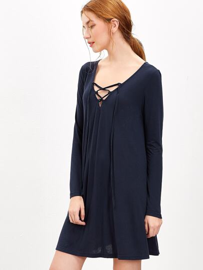 فستان الدانتيل كم طويل ياقة  V
