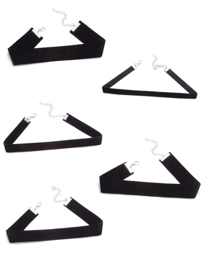 Black Suede Leather Plain Choker Necklace Set