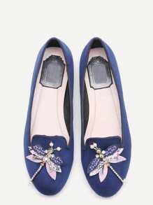 Chaussures flatform strass et perles libellule embelli -bleu