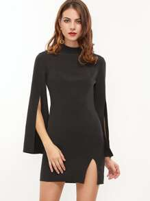 Black Mock Neck Split Bell Sleeve And Hem Bodycon Dress
