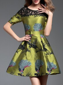 Green Contrast Lace Embroidered Belted Jacquard Dress