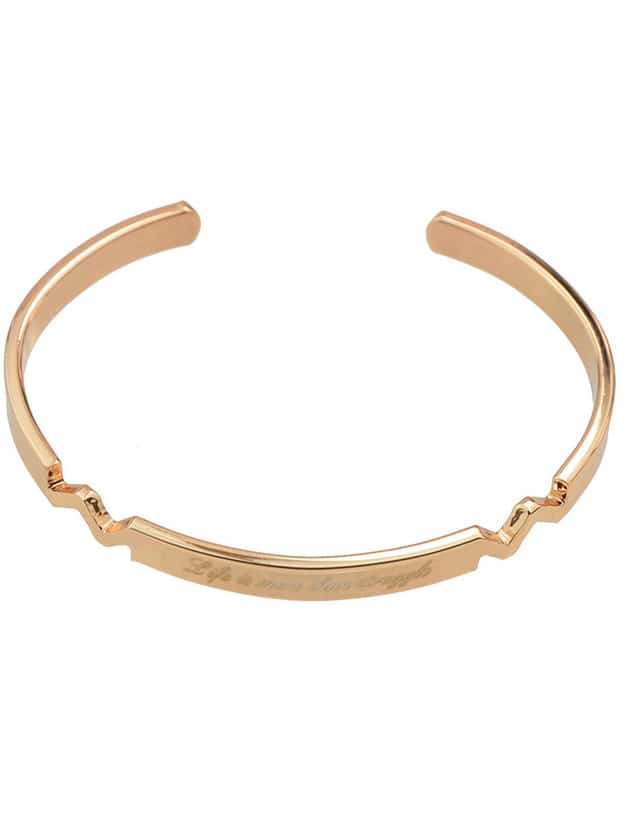 Rosegold Color Braided Metal Cuff Bangles