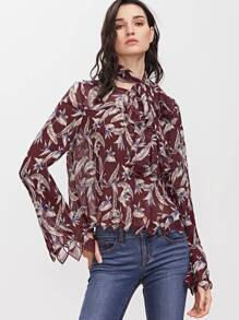 Burgundy Flower Print Cutout Embroidered Edge Top With Neck Tie