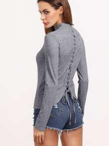 gerippte Strick T-shirt Schnüren-hell grau