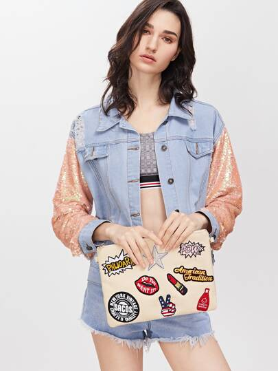 Beige Embroidered Patches Zip Closure Crossbody Bag
