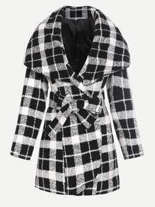 Veste en tartan col drapé - noir et blanc