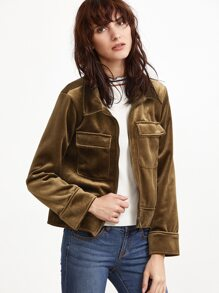 Army Green Zipper Up Velvet Jacket With Pockets