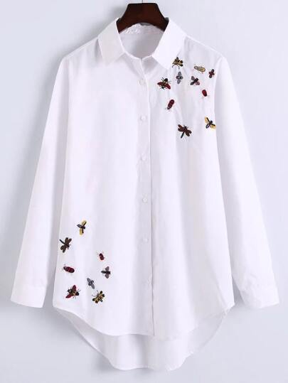 White Curved Hem Embroidered High Low Blouse