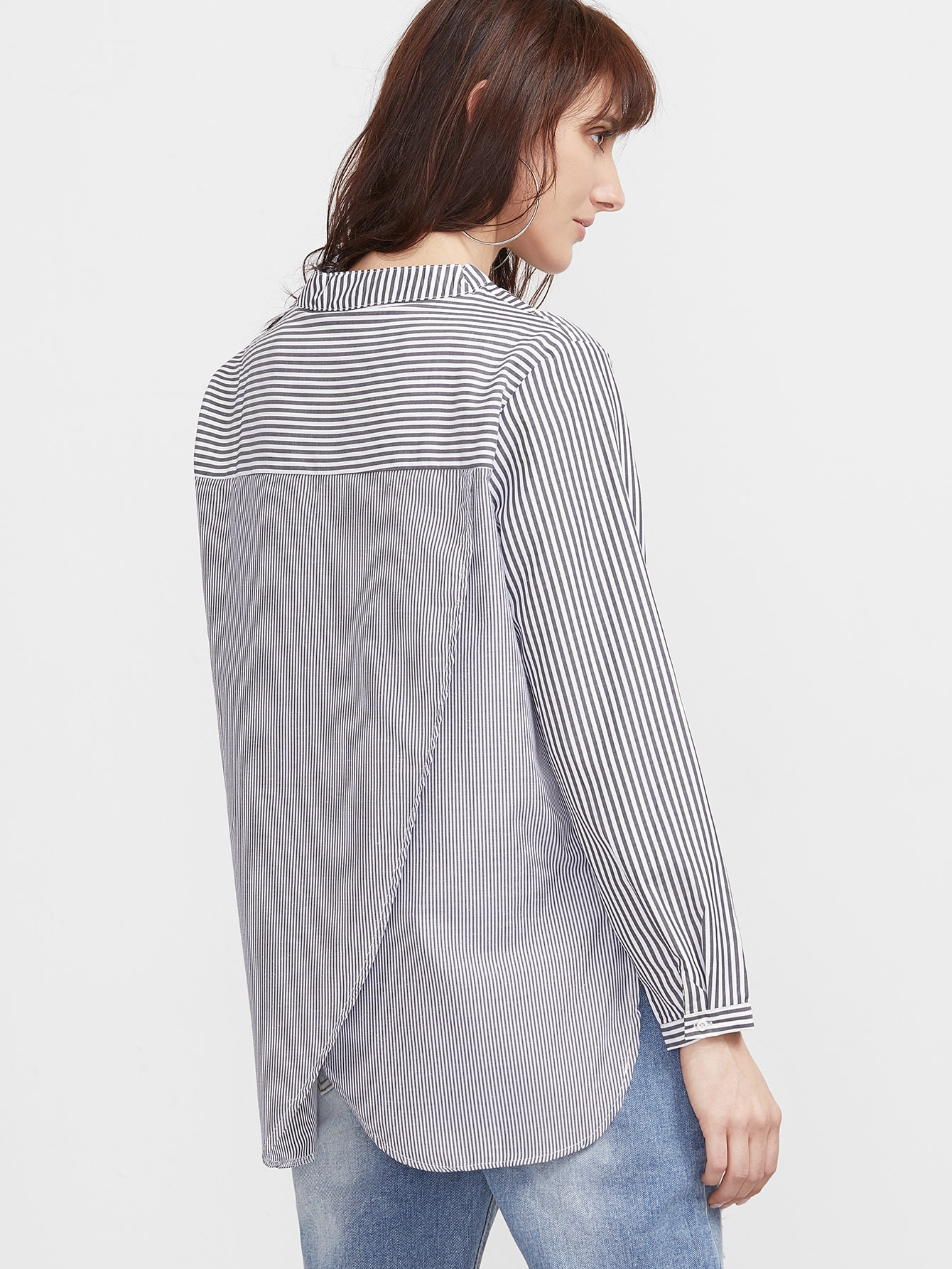 Contrast Striped Slit Side Wrap Back High Low Blouse