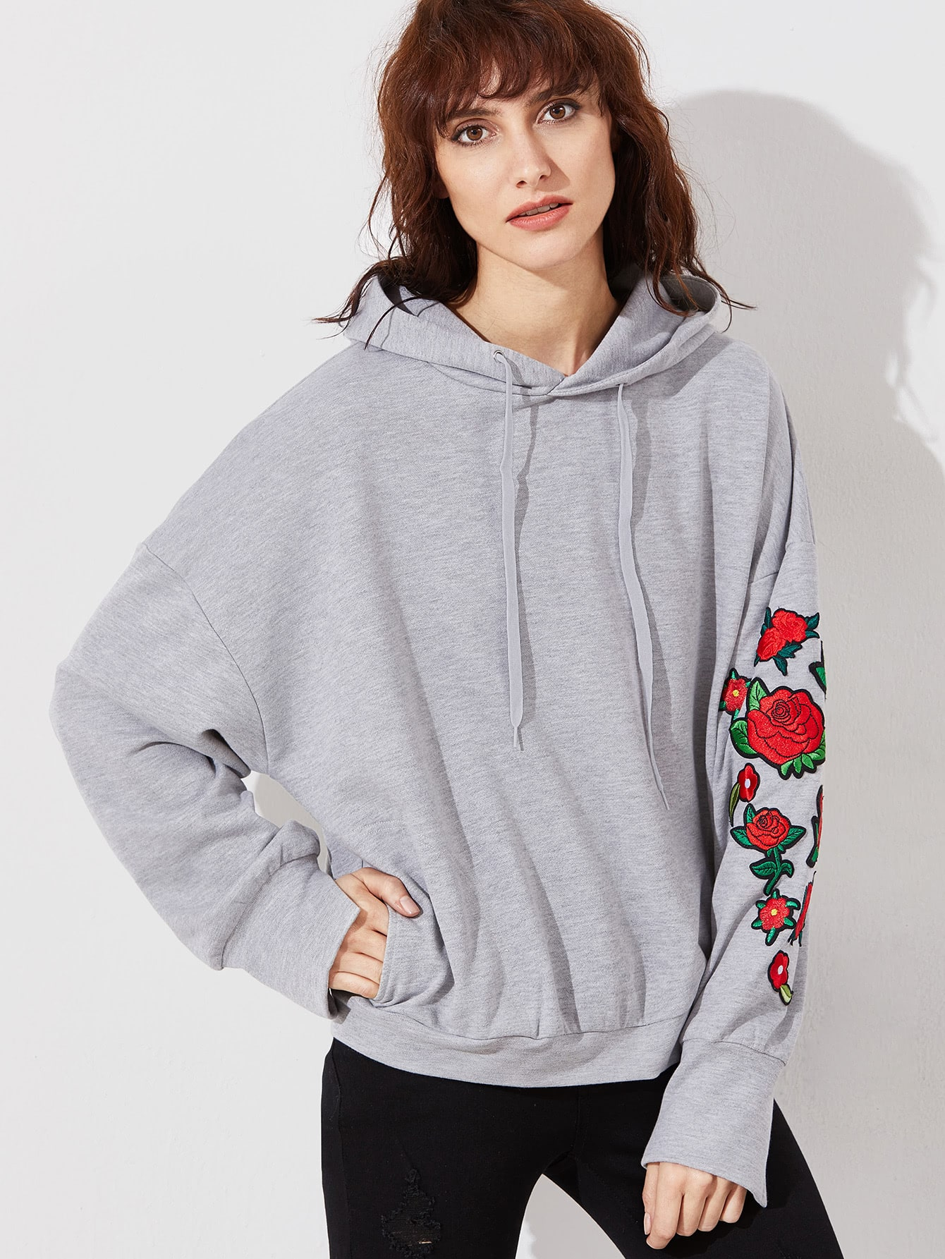 Heather grey embroidered rose applique dolman sleeve