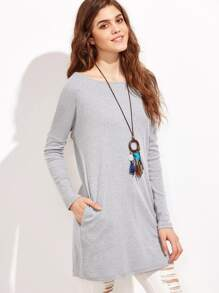 Grey Cutout V Back Tee Dress