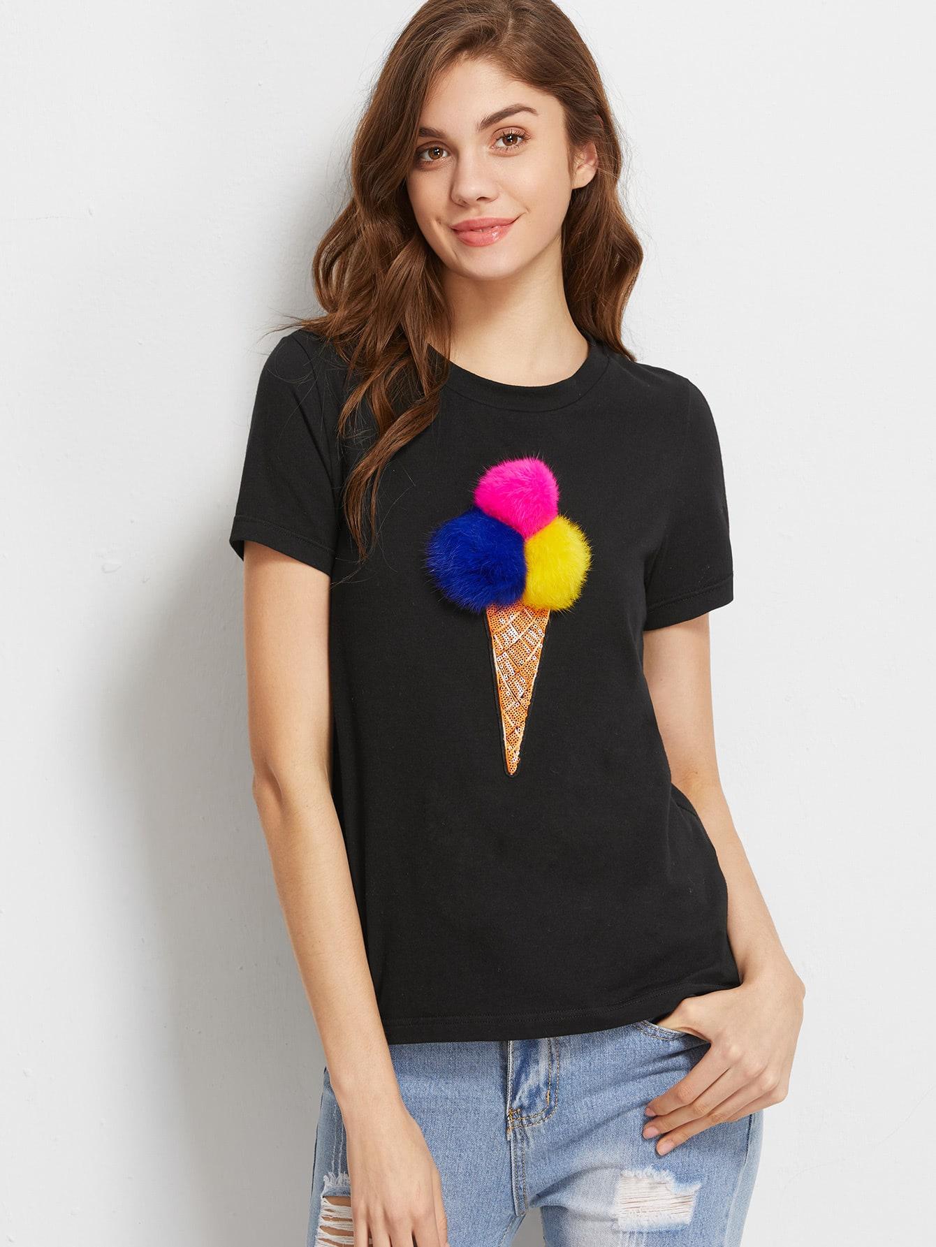 Фото Sequined Pom Pom Ice Cream T-shirt. Купить с доставкой