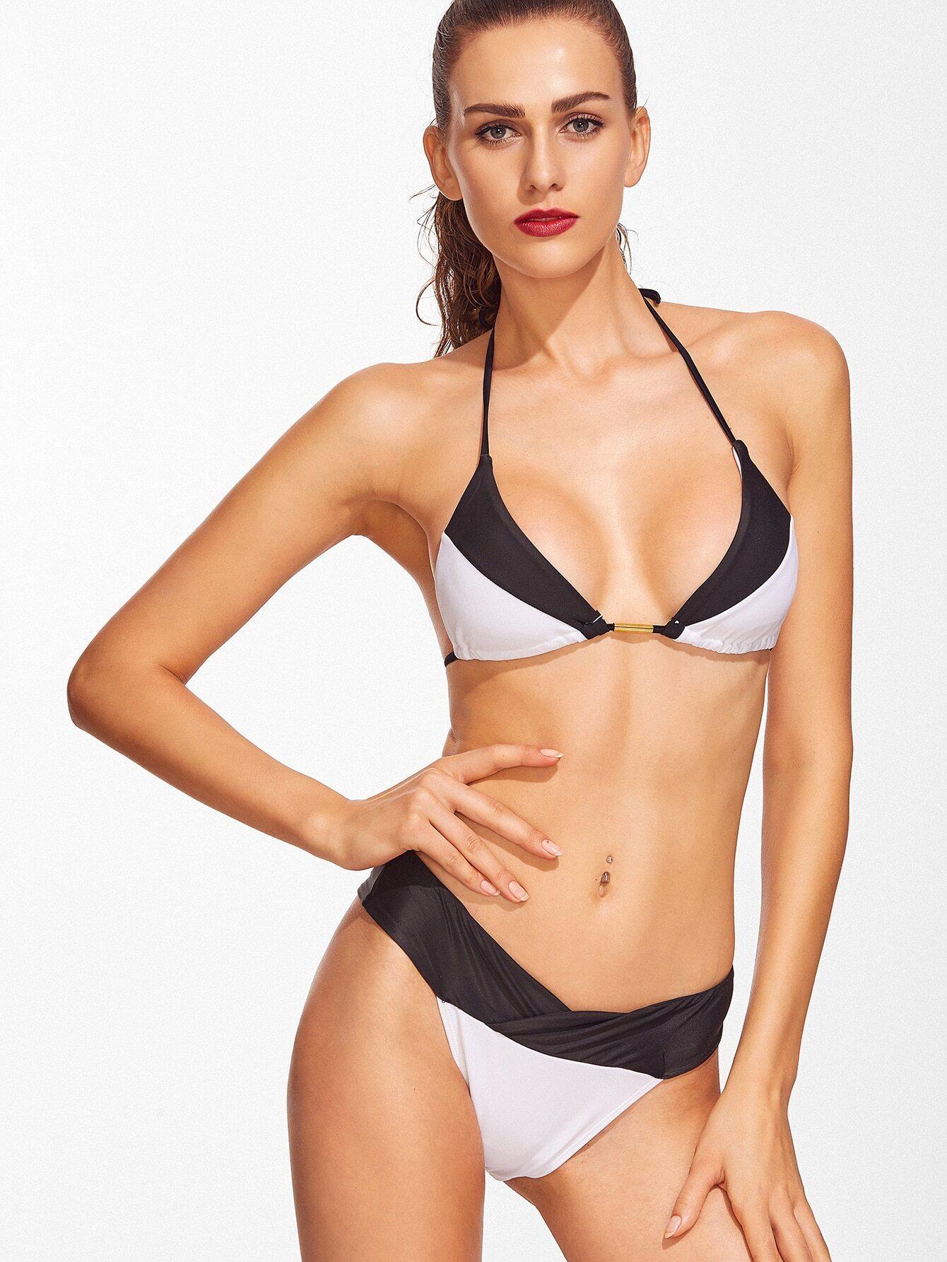 Black And White Triangle Halter Bikini Set