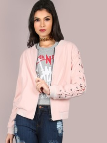 Laced Sleeve Bomber Jacket PINK