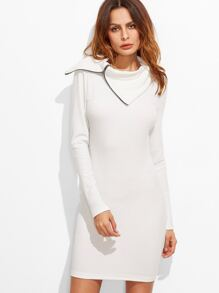 White Zip Slit Turtleneck Textured Bodycon Dress
