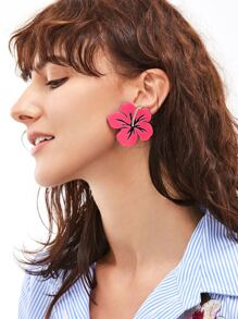 Hot Pink Floral Statement Earrings