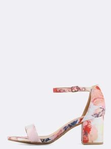 Pastel Floral Block Heels BLUSH MULTI