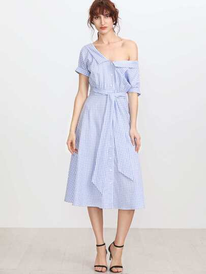 Collared Double V Neck Belted Gingham Shirt Dress