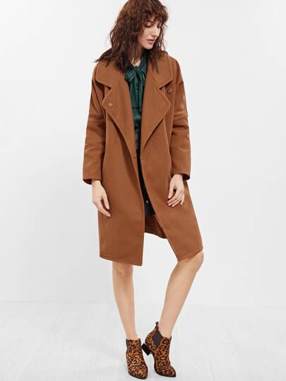Camel Shawl Collar Hidden Button Coat