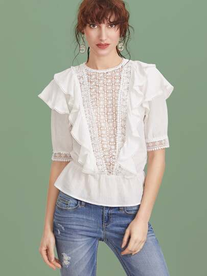Crochet V Panel Ruffle Trim Peplum Top