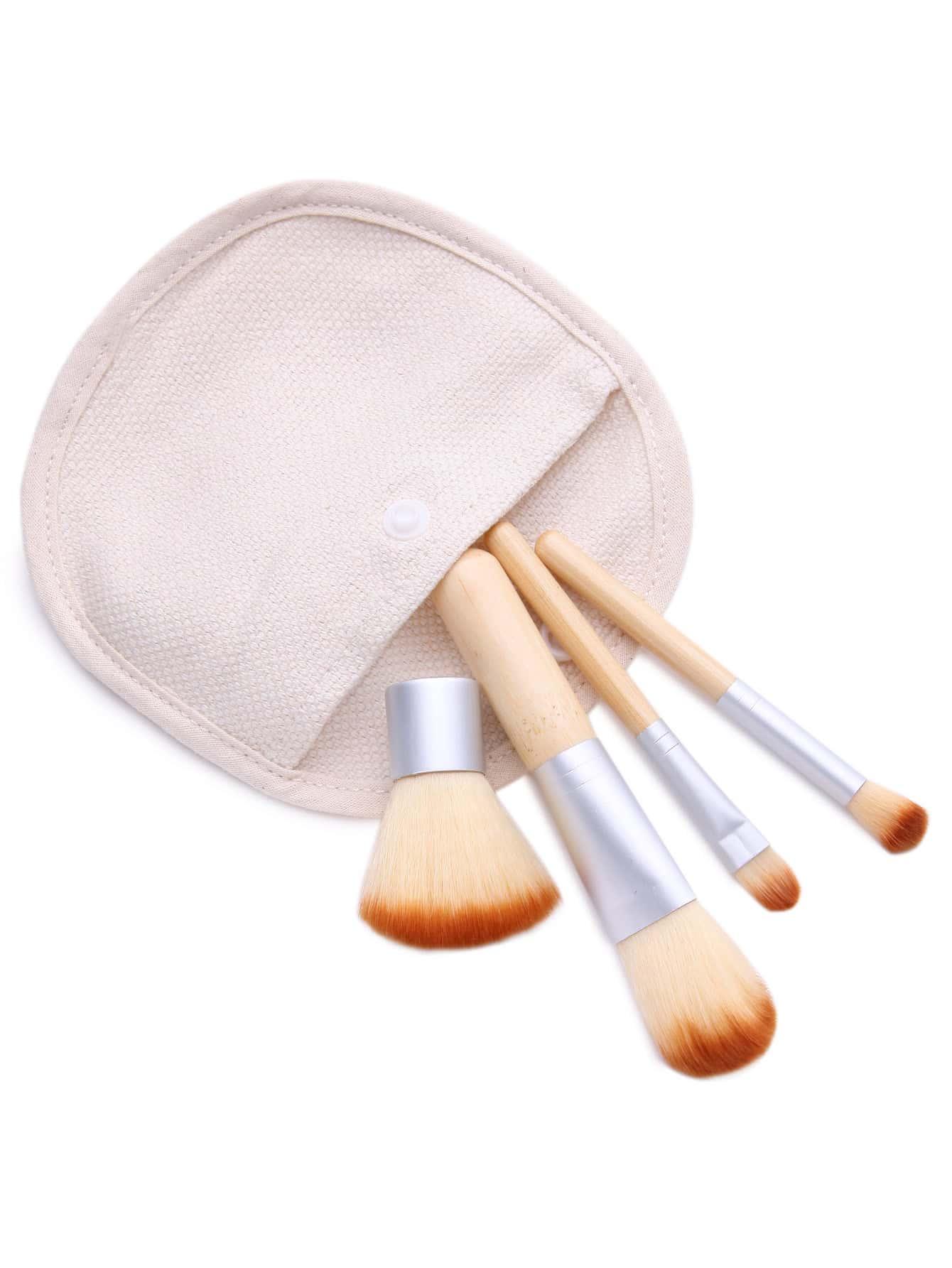 Фото 4PCS Bamboo Handle Makeup Brush Set With Canvas Bag. Купить с доставкой