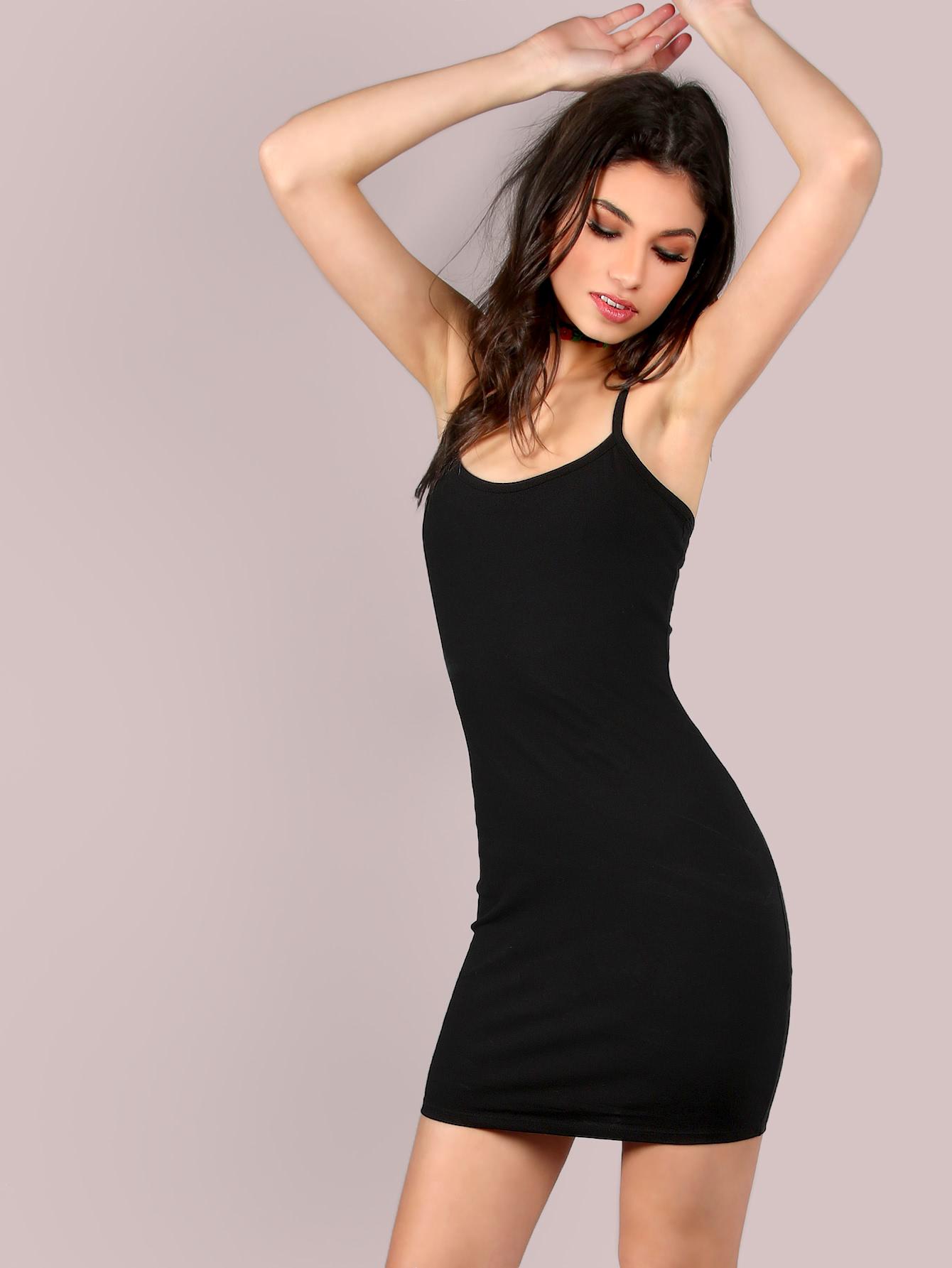 mini robe noire bretelles spaghetti french shein sheinside. Black Bedroom Furniture Sets. Home Design Ideas