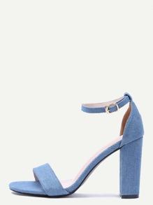 Sandali Con Tacco Dita Scoperta Denim - Blu