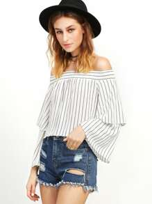 White Vertical Striped Layered Sleeve Off The Shoulder Top
