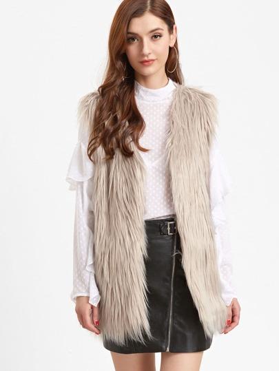 Apricot Open Front Faux Fur Vest