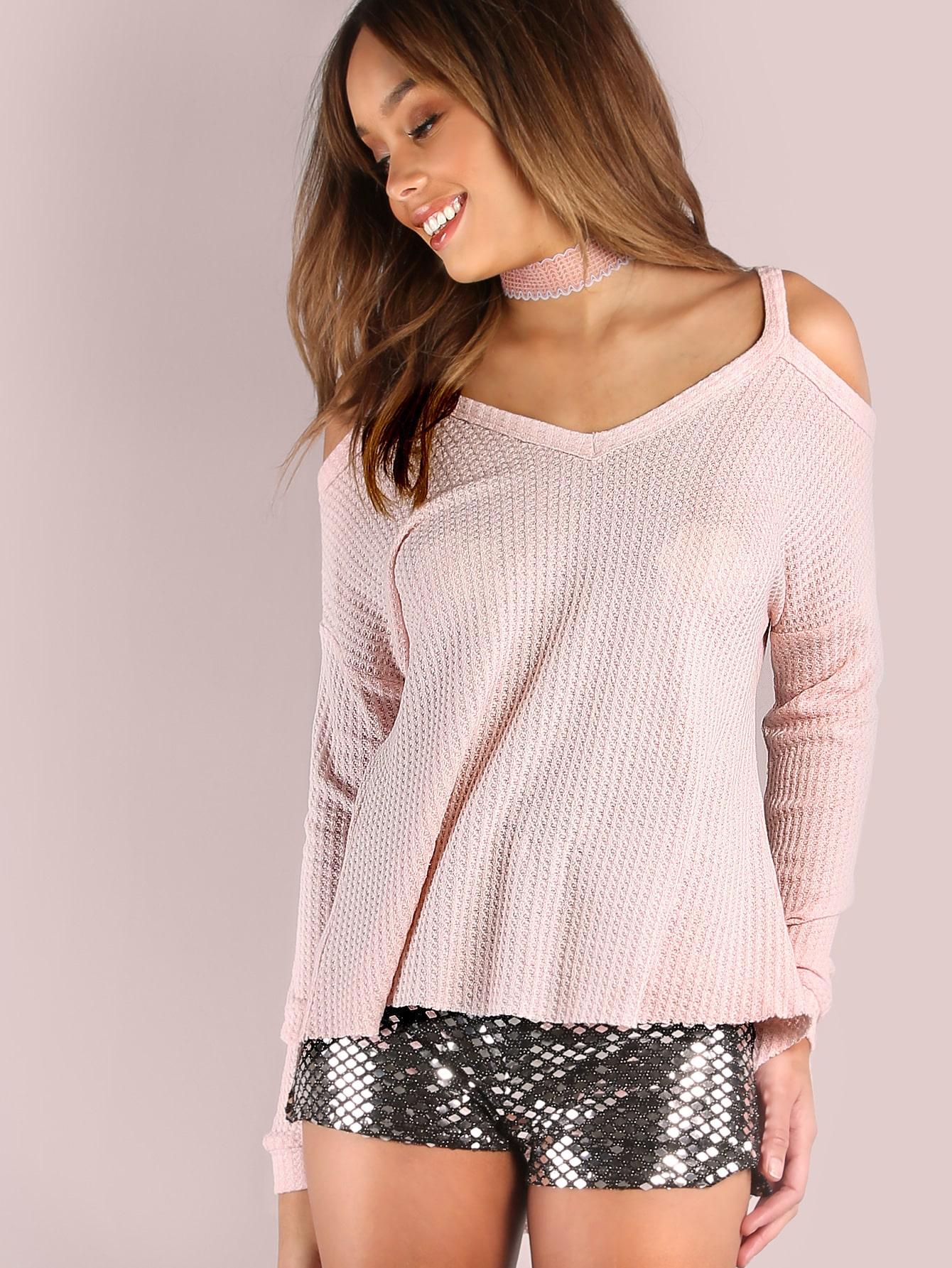 Фото Pink Waffle Knit Cold Shoulder Dolman Sleeve T-shirt. Купить с доставкой