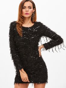 Black Fringe Sequin Bodycon Dress