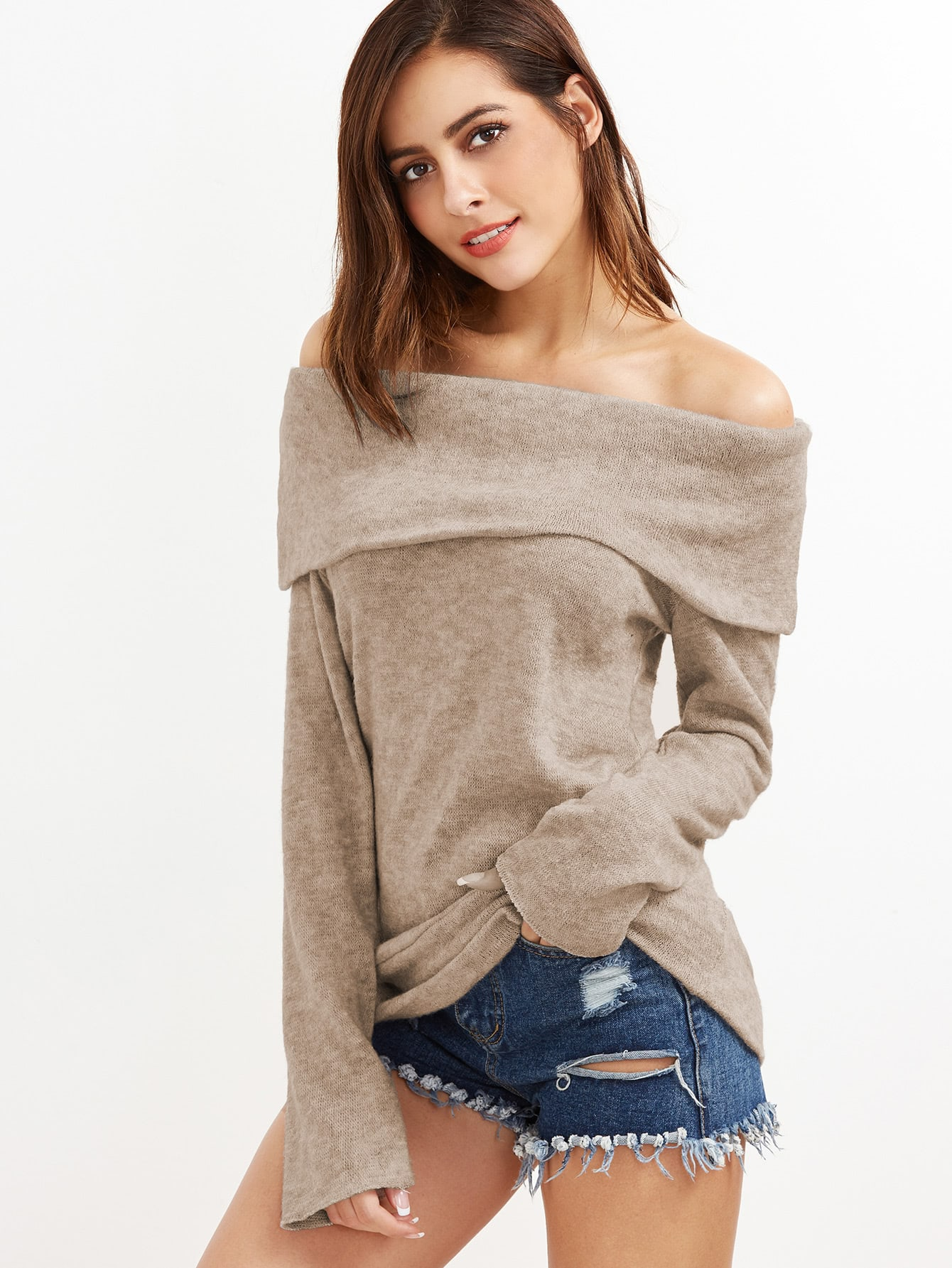 Khaki Off The Shoulder Foldover Knit T-shirt tee161207106