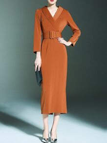 Camel V Neck Obi Maxi Dress