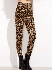 Leopard Print Elastic Waist Leggings