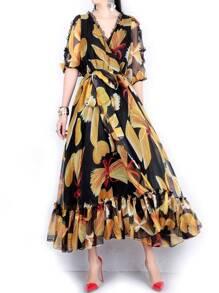 Black V Neck Sheer Tie-Waist Print Maxi Dress