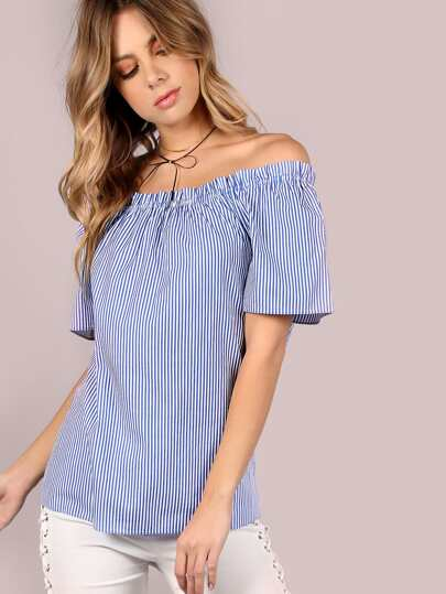 Open Shoulder Striped Flow Top BLUE WHITE