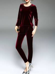 Burgundy Velvet Top With Pockets Pants