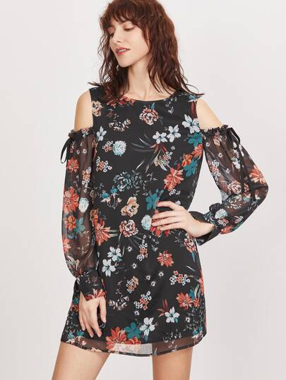 فستان كتف مكشوف كم طويل طباعة الزهور - أسود