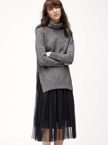 Dark Grey Turtleneck Side Slit High Low Sweater
