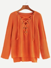Orange Eyelet Lace Up High Low Sweater