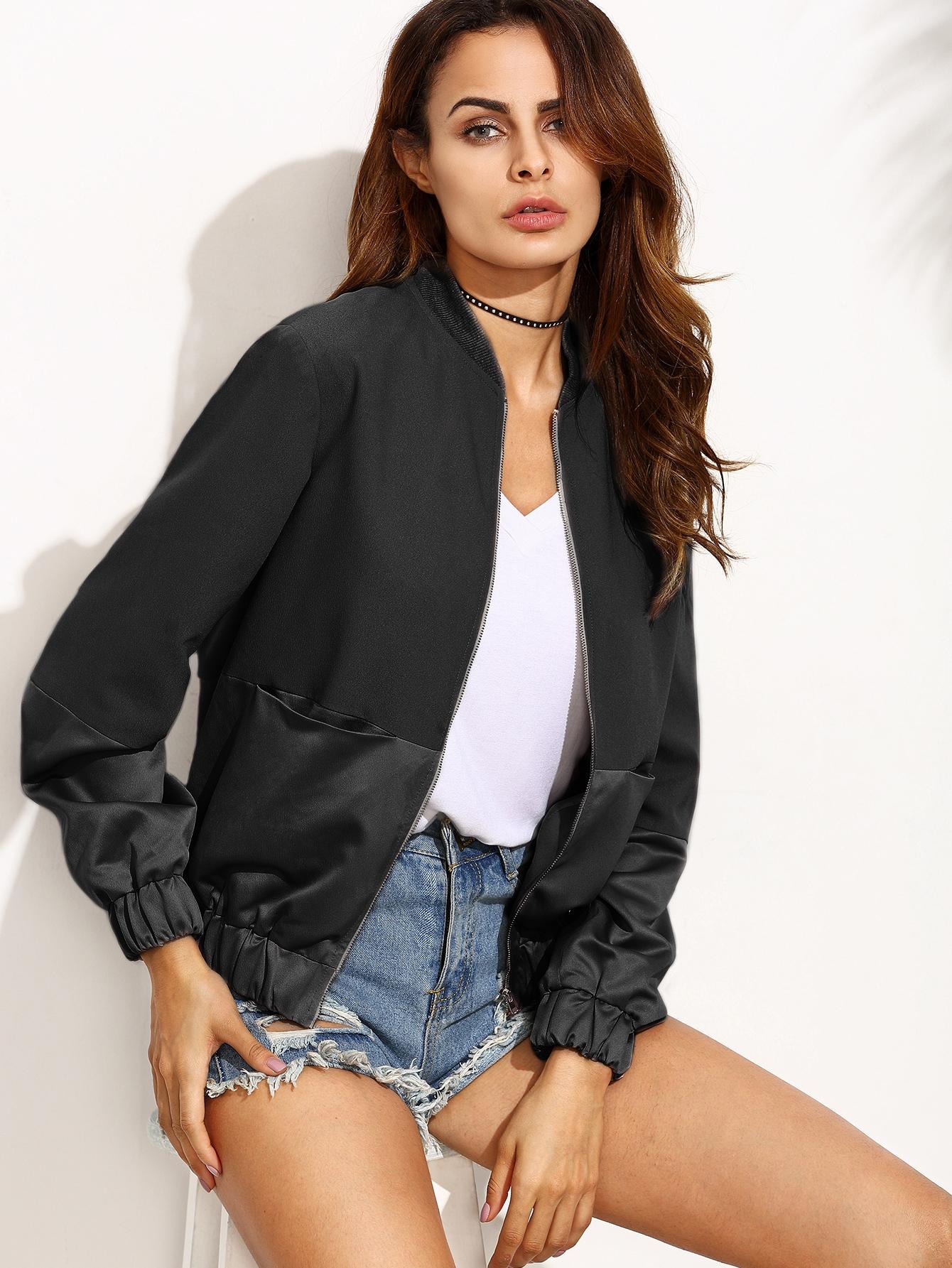 Black Mixed Media Zipper Front Long Sleeve Jacket