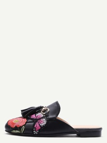 Black PU Embroidered Patch Tassel Flat Slippers