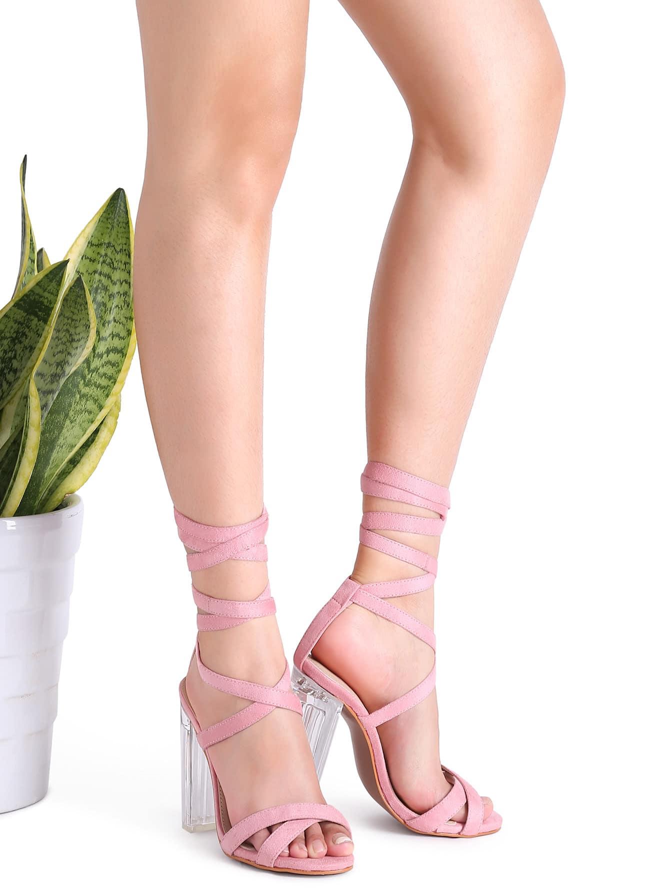 Фото Pink Suede Strappy Criss Cross Sheer Heel Sandals. Купить с доставкой